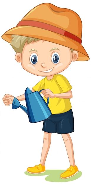 Chłopiec W żółtej Koszula Z Podlewanie Puszką Na Bielu Darmowych Wektorów