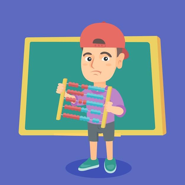 Chłopiec z abakusem z zielonym blackboard. Premium Wektorów