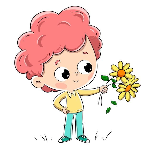 Chłopiec z kwiatami daje je komuś. urocza chłopiec z rudymi włosami i kręconymi włosami. Premium Wektorów