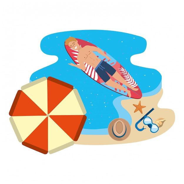Chłopiec Z Letnimi Strojami Kąpielowymi Premium Wektorów