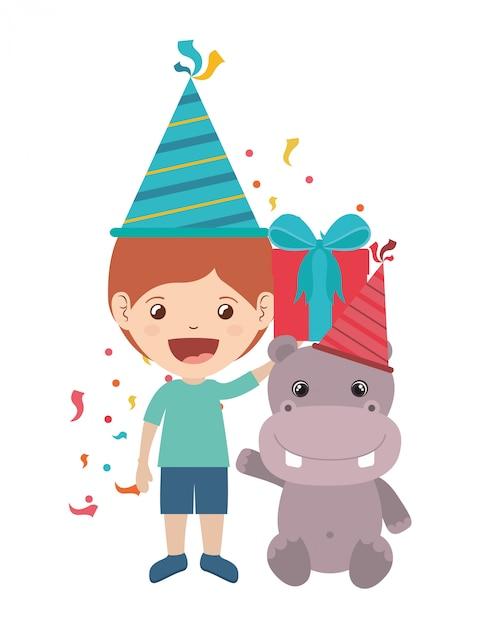 Chłopiec z party hat w obchody urodzin Premium Wektorów