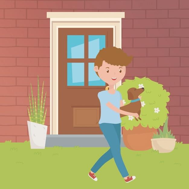 Chłopiec Z Psim Kreskówka Projektem Darmowych Wektorów