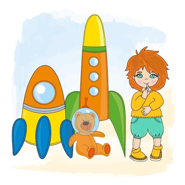 Chłopiec z rakietą Premium Wektorów