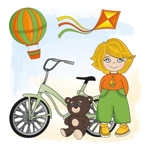 Chłopiec z rowerem Premium Wektorów