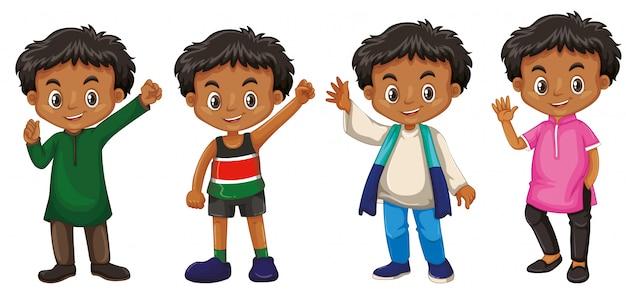 Chłopiec z szczęśliwą twarzą w różnych kostiumach Darmowych Wektorów