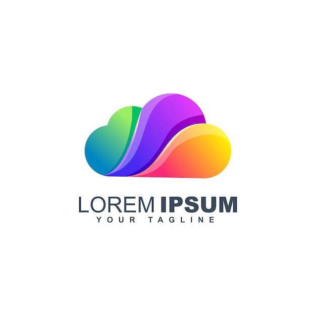 Chmura Kolorowy Logo Szablon Projektu Płyn Gradientu Premium Wektorów