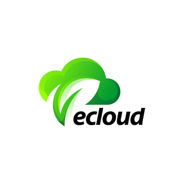 Chmura Liść Zielony Natura Projektowanie Logo Gradientu Premium Wektorów