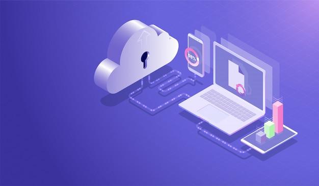 Chmura Przechowywania Danych Centrum I Koncepcja Cloud Computing Premium Wektorów