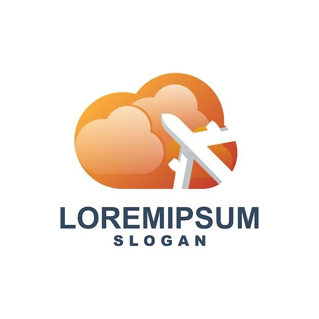 Chmura z logo samolotu Premium Wektorów