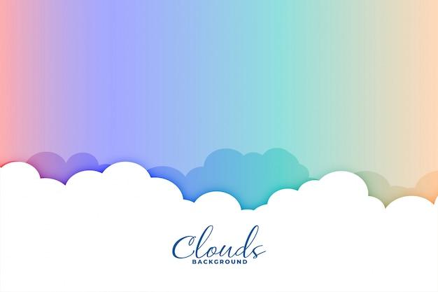 Chmurnieje Tło Z Kolorowym Tęczy Nieba Projektem Darmowych Wektorów