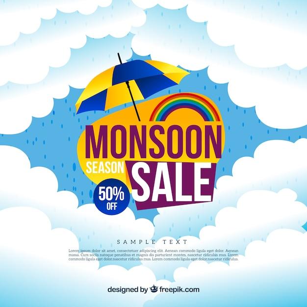 Chmury sprzeda? Y monsun tle z parasolem Darmowych Wektorów
