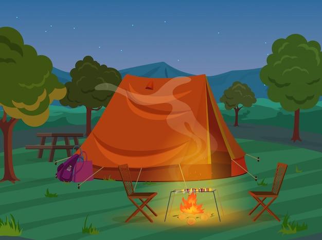 Chodzący, wycieczkujący lub bawi się plenerowego campingowego odtwarzanie krajobraz, natur przygod wakacje wakacje ilustracja. namiot z nocnego drewna. Premium Wektorów