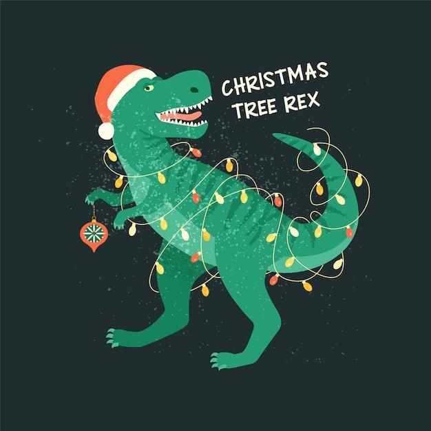 Choinka t-rex z lampkami girlandowymi. Premium Wektorów