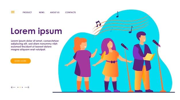 Chór Dziecięcy śpiewający Piosenkę W Płaskiej Ilustracji Kościoła. Darmowych Wektorów
