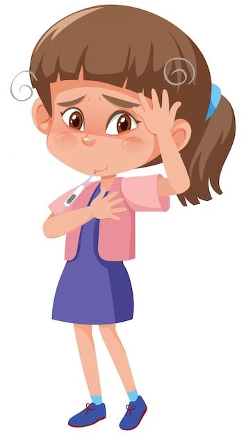 Chora Dziewczyna Z Wysoką Gorączką I Bólem Głowy Na Bielu Premium Wektorów