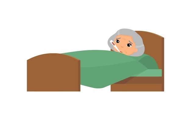 Chora Stara Azjatykcia Kobieta Z Termometrem W łóżku. Babcia Z Postacią Z Kreskówki Wysokiej Temperatury. Gorączka, Objawy Grypy, Przeziębienie. Darmowych Wektorów