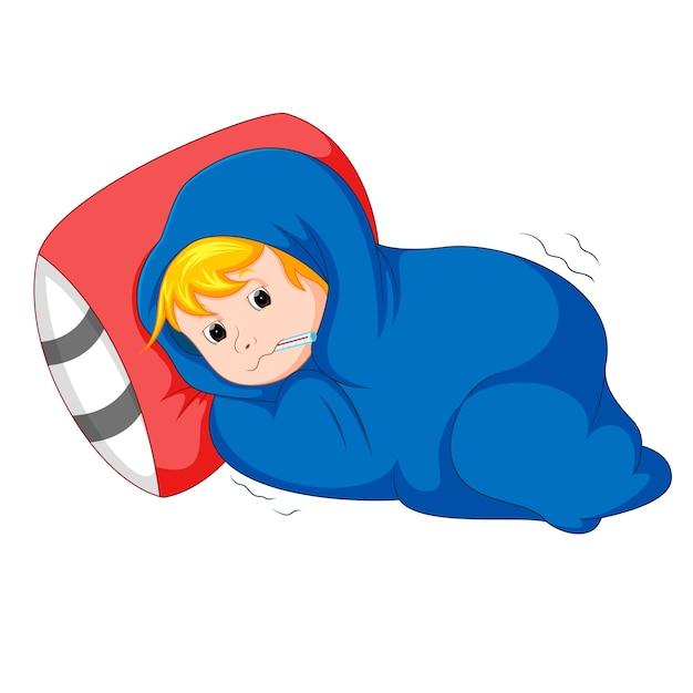 Chore Dziecko Leżące W łóżku | Premium Wektor