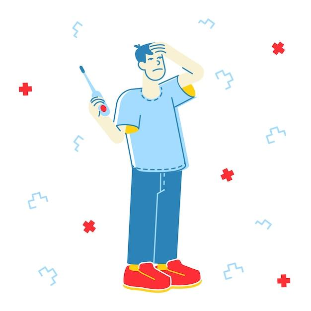 Chory Mężczyzna O Ilustracji Gorączka Premium Wektorów