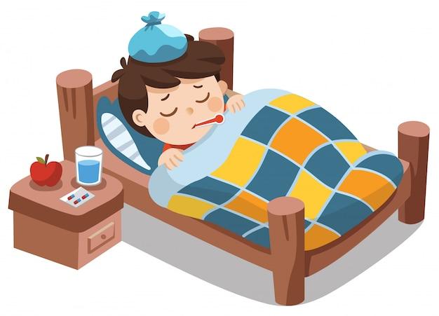 Chory Słodki Chłopiec śpi W łóżku Z Termometrem W Ustach I źle Się Czuje Z Gorączką. Premium Wektorów