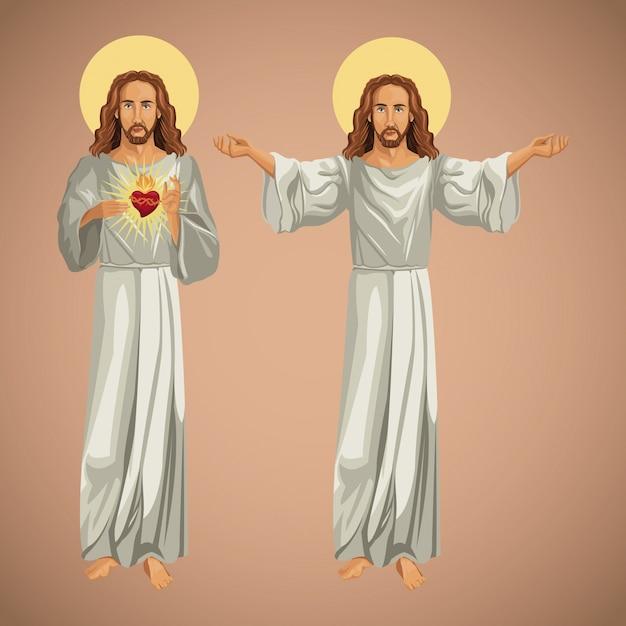 Christ Chrześcijaństwa Wizerunku Jesus Dwa Premium Wektorów