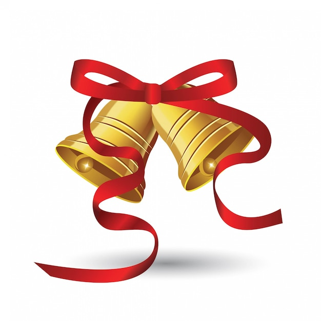 Christmas Bells Z Czerwoną Wstążką Premium Wektorów