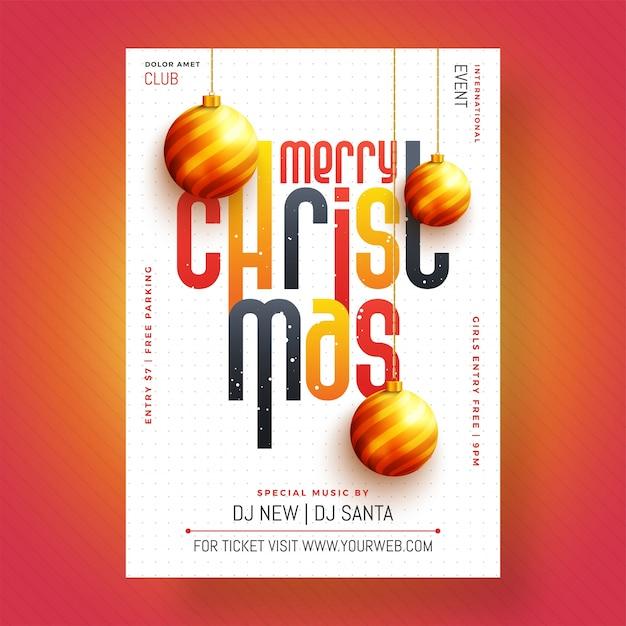 Christmas celebration party plakat, projekt transparentu lub ulotki. Premium Wektorów
