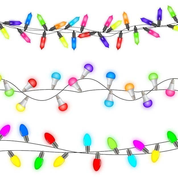 Christmas lights wektor bez szwu, zestaw kolorowych świateł led Premium Wektorów