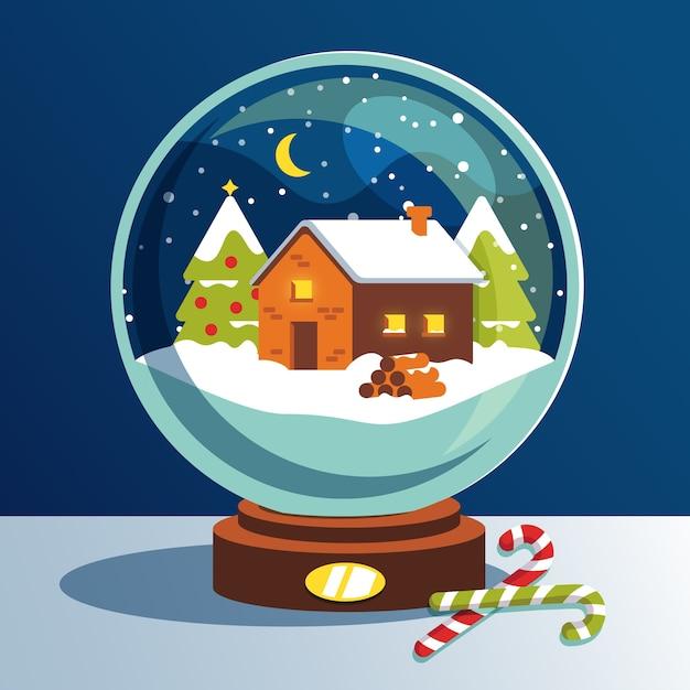 Christmas Snowball Globe Płaska Konstrukcja Darmowych Wektorów