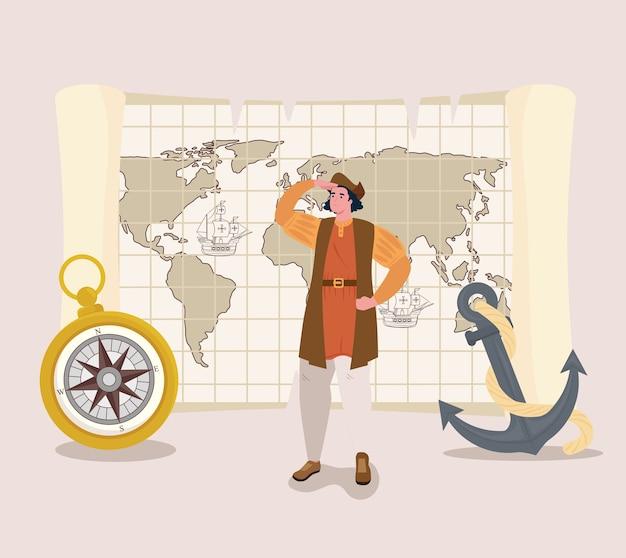 Christopher Columbus Kreskówka Z Kompasem I Kotwicą Przedstawiającą Szczęśliwego Dnia Kolumba W Ameryce I Motywem Odkrywania Premium Wektorów