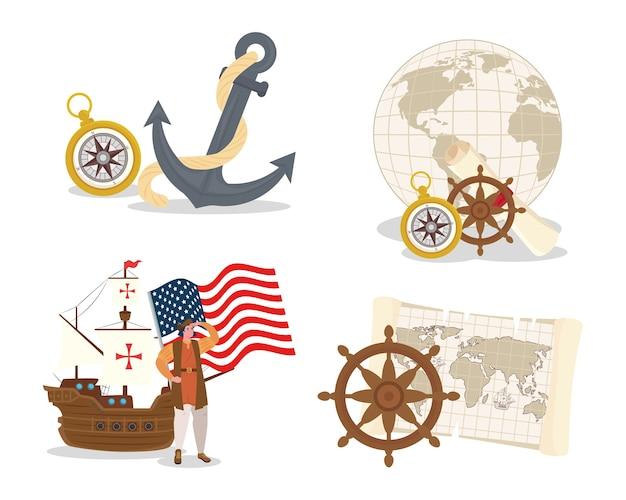 Christopher Columbus Kreskówka Ze Statkiem I Projektem Zestawu Ikon Szczęśliwego Dnia Kolumba W Ameryce I Motywem Odkrywania Premium Wektorów