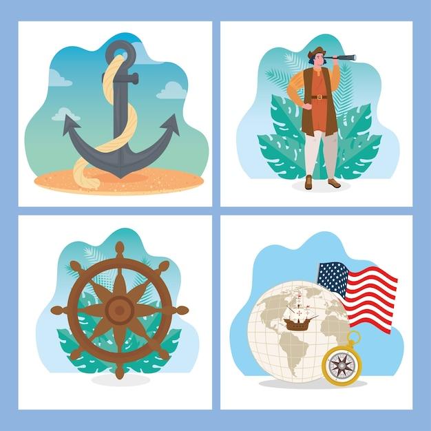 Christopher Columbus, Rysunek Kotwicy Steru I Projekt świata Szczęśliwego Dnia Kolumba W Ameryce I Motywu Odkryć Premium Wektorów