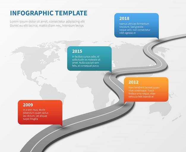 Chronologiczna mapa drogowa strategii. oś czasu biznesowego Premium Wektorów