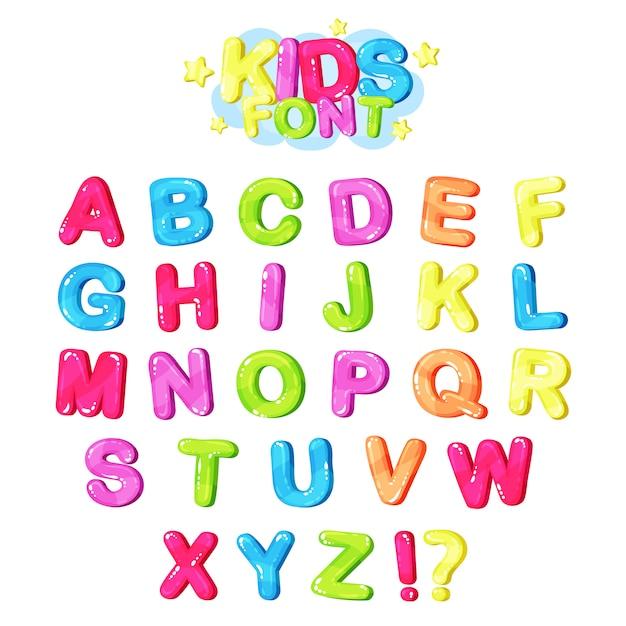 Chrzcielnica Dla Dzieci, Wielokolorowe Jasne Litery Alfabetu Angielskiego I Symbole Interpunkcyjne Ilustracja Premium Wektorów