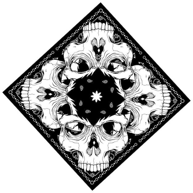 Chustka z rysunkiem czaszki Premium Wektorów