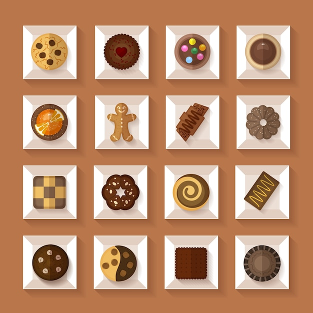 Ciasteczka W Pudełkach W Stylu Płaski Z Cieniem Darmowych Wektorów