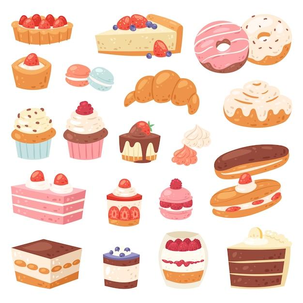 Ciasto Czekoladowe Wyroby Cukiernicze Babeczka I Słodka Słodycze Deserowe Z Ilustracją Cukierków Ciastek Skonfiskowany Pączek Z Czekoladą I Słodyczami W Piekarni Zestaw Na Białym Tle Premium Wektorów