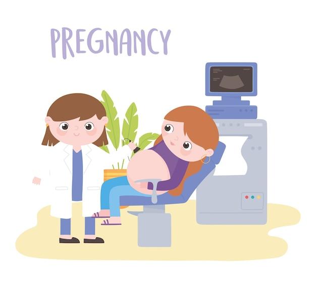 Ciąża I Macierzyństwo, Kobieta W Ciąży Na Wizytach Lekarskich U Lekarza Premium Wektorów
