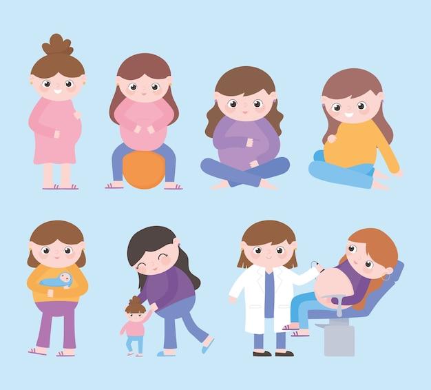 Ciąża I Macierzyństwo, Kreskówka Kobiety W Ciąży, Dzieci, Dziecko I Kobieta Lekarz Premium Wektorów
