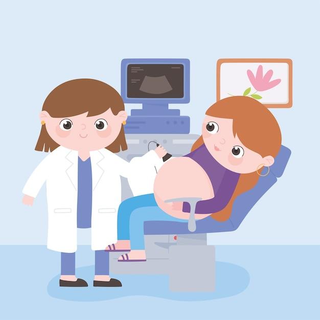 Ciąża I Macierzyństwo, Lekarz I Kobieta W Ciąży Sprawdzają Brzuch Za Pomocą Usg Premium Wektorów