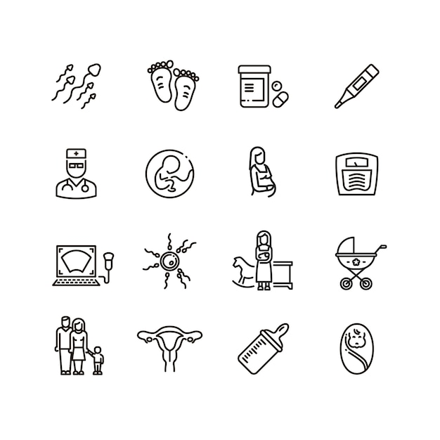 Ciąża i nowonarodzone dziecko linii wektorowe ikony. piktogramy macierzyństwa i niemowlęcia Premium Wektorów