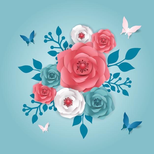 Cięcie Papieru Styl Transparent Z Kwiatem, Motyl. Premium Wektorów