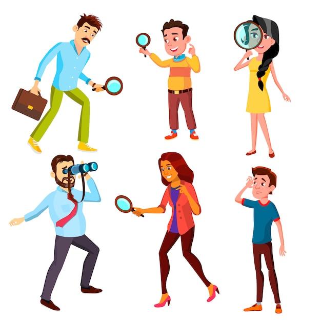 Ciekawe Postacie Szuka Zestawu Informacji Premium Wektorów