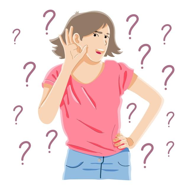Ciekawość, Plotki, Koncepcja Głuchoty Premium Wektorów