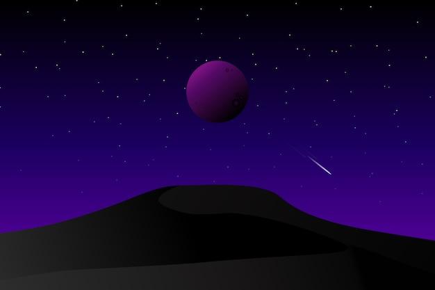 Ciemna galaktyka pustynna i gwiaździste nocne niebo Premium Wektorów