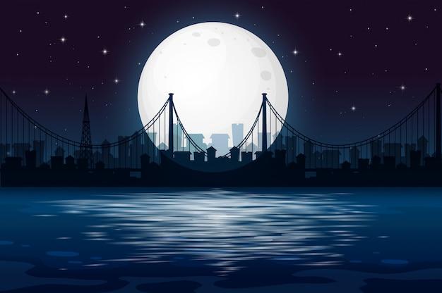 Ciemna nocna scena miejska Darmowych Wektorów