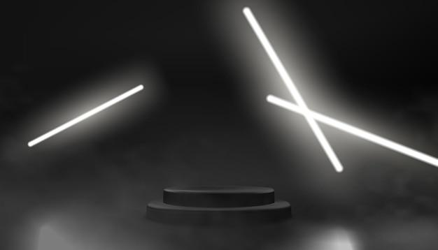 Ciemne, Puste Podium Ze świecącymi Neonami Premium Wektorów