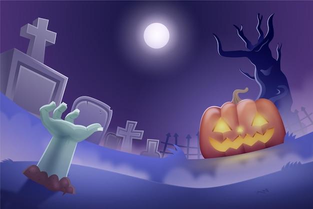 Ciemne Tło Halloween Z Cmentarzem I Straszną Dynią Darmowych Wektorów