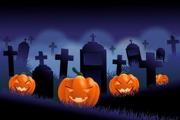Ciemne Tło Halloween Z Cmentarzem Darmowych Wektorów