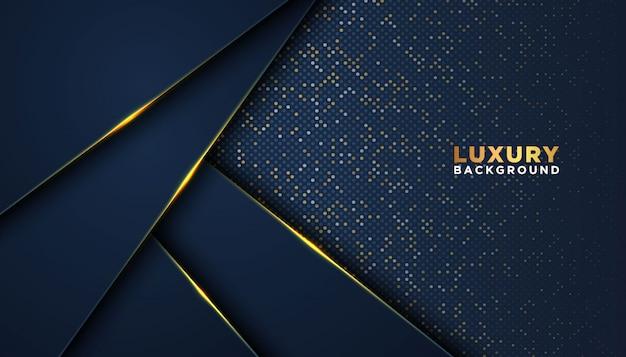 Ciemne tło z nakładającymi się warstwami. luksusowa koncepcja projektowania. złote błyszczące kropki element dekoracji. luksusowa koncepcja projektowania. Premium Wektorów