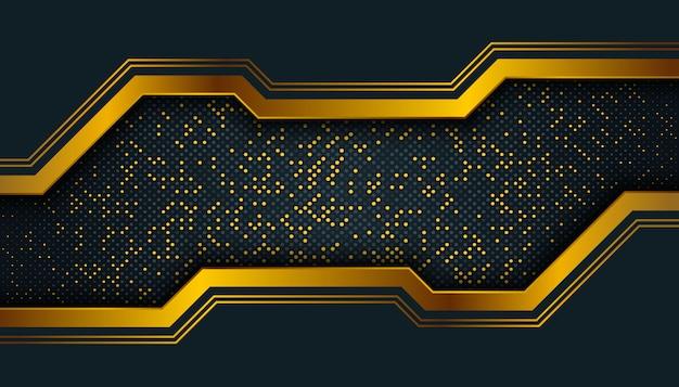 Ciemne tło z nakładającymi się warstwami. złote błyszczące kropki element dekoracji. Premium Wektorów